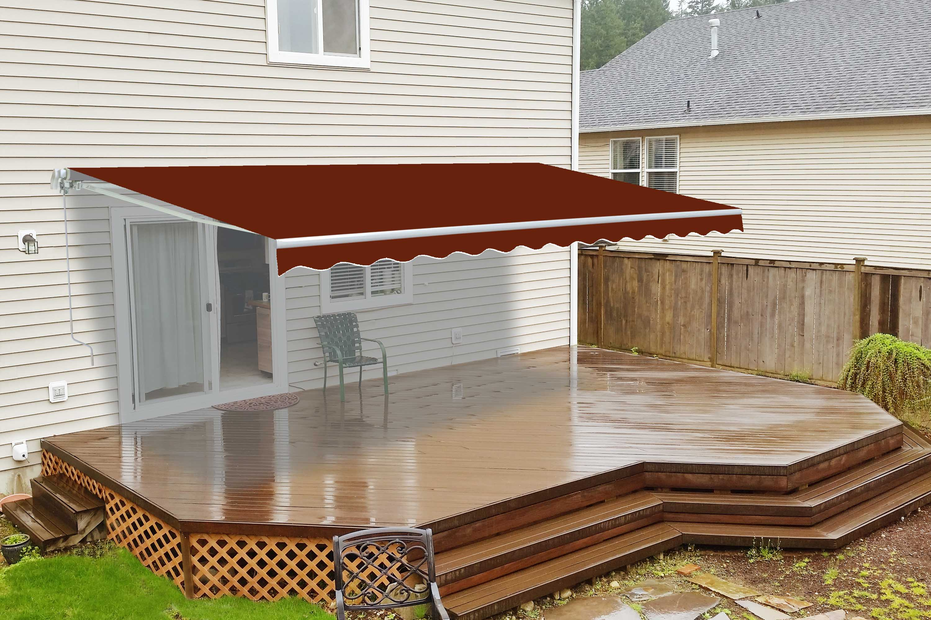 huge selection of be61f 76005 Motorized Retractable Patio Awning - 20X10 Feet - Burgundy ...