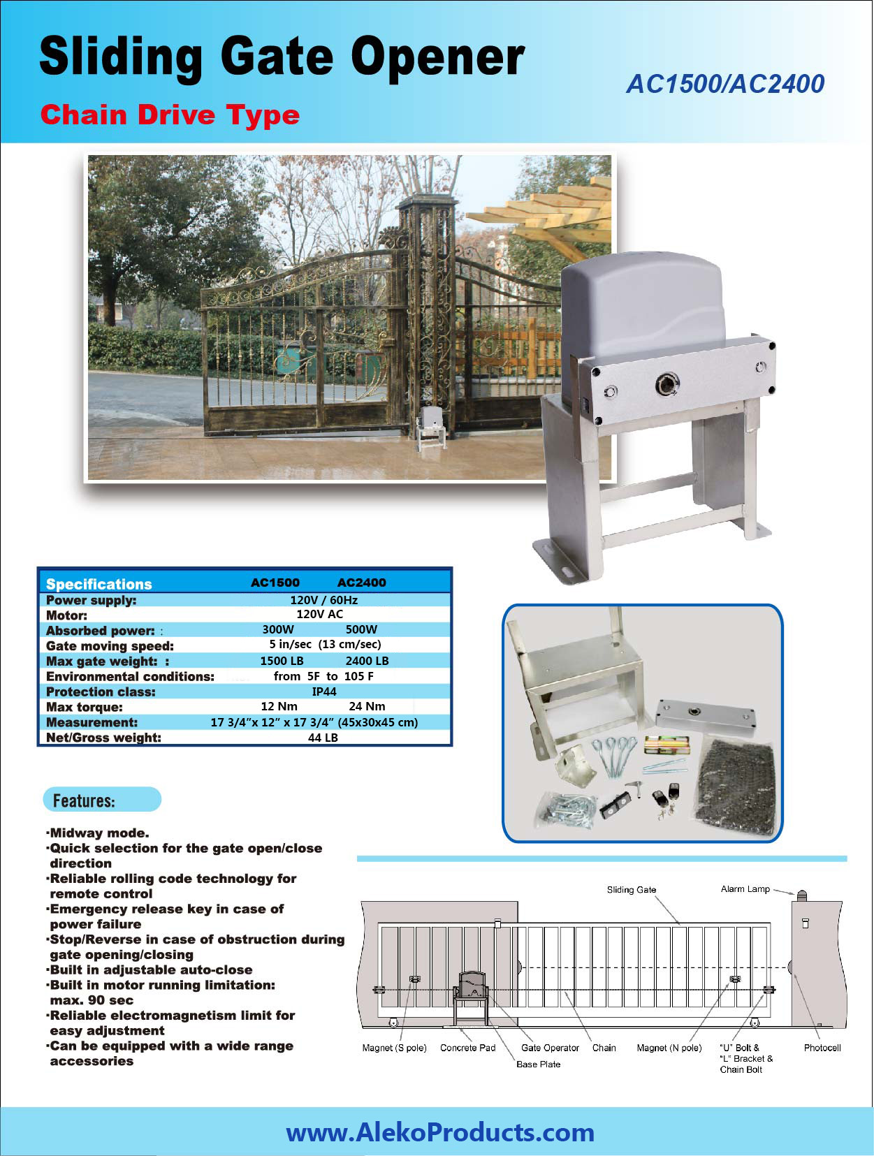 Sliding gate opener ac1500 accessory kit acc4 aleko for Sliding gate motor kit