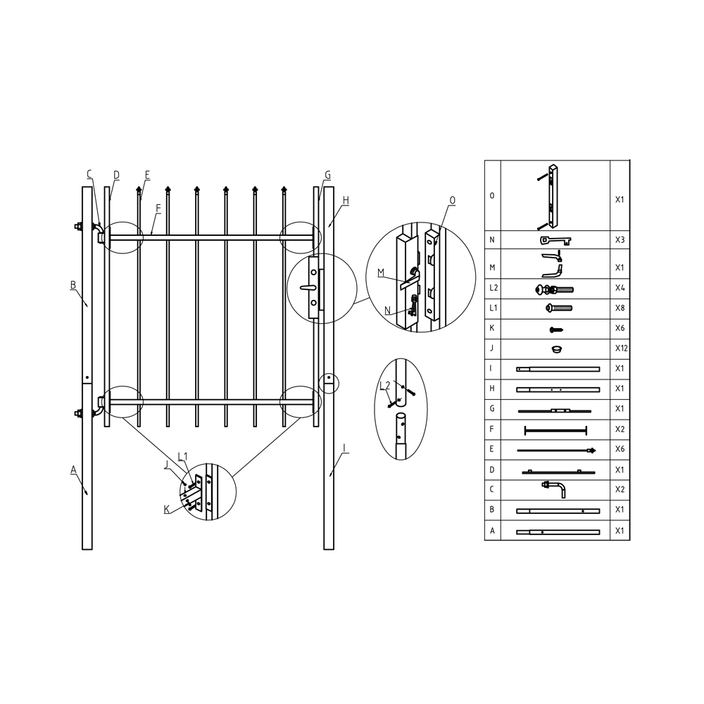 steel driveway gate kit with pedestrian gate