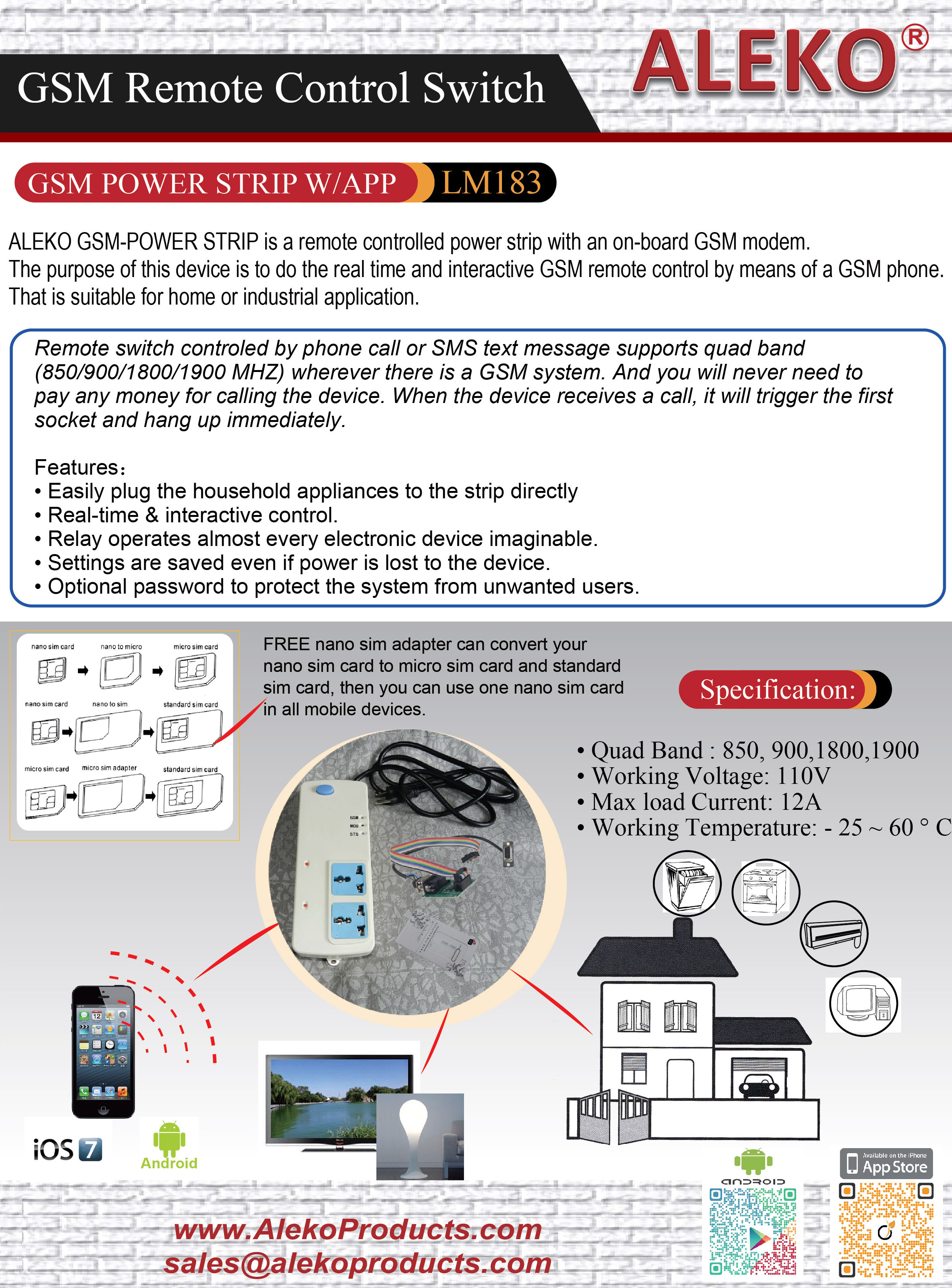 ALEKO | LM182 Seven Output GSM Relay with application